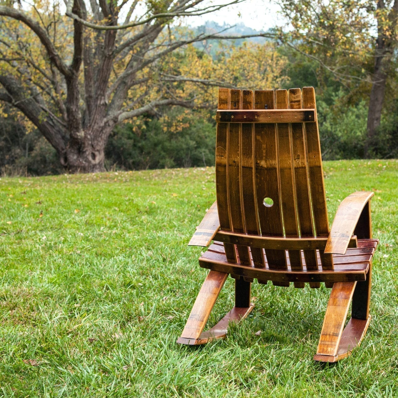 Wine Barrel Rocking Chair Screen Porch Living