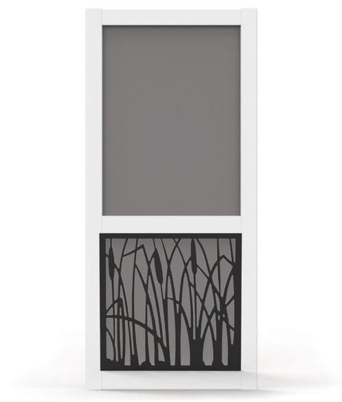Vinyl Screen Door with Cattail Design