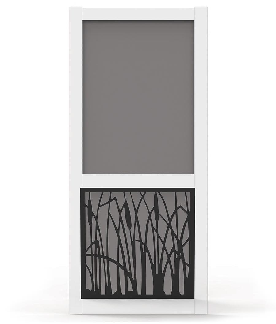 Vinyl Screen Door with Cattail Design