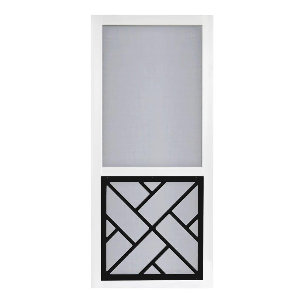 Chippendale Solid Vinyl Screen Door With Black Decorative